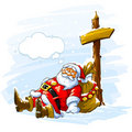 Santa Claus sleeping near the post with arrow Royalty Free Stock Images