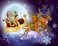 Santa claus sleigh christmas scene Stockbilder