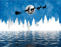 Santa Claus in sleigh over lake Royalty Free Stock Photo