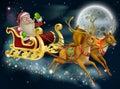 Santa claus sleigh scene Fotos de archivo libres de regalías