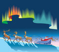 Santa Claus sleighing under northern lights Royalty Free Stock Photography