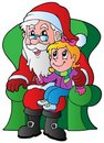Santa Claus and small girl Royalty Free Stock Image