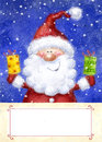 Santa claus on snow background christmas greeting card happy new year marry christmas card christmas gift christmas gifts Stock Photo