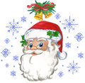 Santa Claus and snow flakes Stock Images