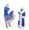 Santa Claus and Snow Maiden Stock Photos