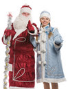 Santa Claus and snow maiden giving thumbs-up sign Royalty Free Stock Photos