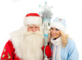 Santa Claus and Snow Maiden Royalty Free Stock Photo