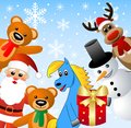 Santa claus snow man and beasts illustration Royalty Free Stock Photography