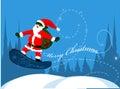 Santa Claus on snowboard Royalty Free Stock Photo