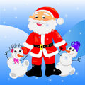 Santa claus with snowman.card christmas Stock Photo