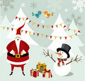 Santa Claus and Snowman Christmas card. Stock Photography