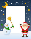 Santa claus and snowman frame christmas vertical photo with a happy cartoon character a on the snow eps file available Royalty Free Stock Photos