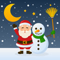 Santa claus and snowman happy cartoon character with a holding a broom in a snowy scene with the moon eps file available Stock Photo