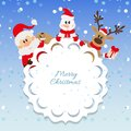 Santa claus snowman and reindeer background for christmas Royalty Free Stock Images