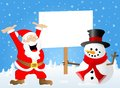 Santa claus and a snowman with sign in his hand vector illustration of Stock Photography