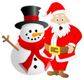 Santa claus and snowman vector illustration of a on white background Stock Image