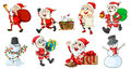 Santa claus and the snowmen illustration of on a white background Royalty Free Stock Photo