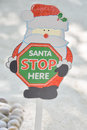 Santa claus stop here christmas sign Royalty Free Stock Photo