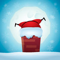 Santa claus stuck in a chimney Royalty Free Stock Photo