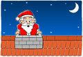 Santa claus stuck in the chimney vector illustration of Stock Image