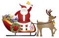 Santa claus sulla renna sleigh che consegna l illustrazione dei presente Immagine Stock