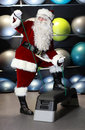 Santa Claus training before Christmas Stock Photo