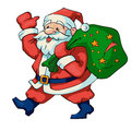 Santa claus vector illustration of with a bag of gifts Stock Images