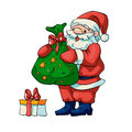 Santa claus vector illustration of with a bag of gifts Royalty Free Stock Photos