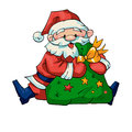 Santa claus vector illustration of with a bag of gifts Stock Photo