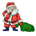 Santa claus vector illustration of with a bag of gifts Royalty Free Stock Photo
