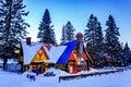 Santa Claus` Village, Val-David, Quebec, Canada - January 1, 2017: Big house in Santa Claus village Royalty Free Stock Photo