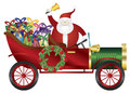 Santa claus on vintage car delivering presents illustration ringing bell in wrapped isolated white background Stock Images