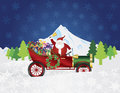 Santa claus on vintage car with presents night sno ringing bell delivering wrapped traveling over winter snow scene at background Stock Images
