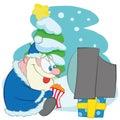 santa claus watching tv with pop corn