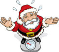 Santa claus on weight scale cartoon illustration of a guilty standing in a Royalty Free Stock Photos