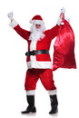 Santa claus is winning you a big bag of gifts on white background Stock Image