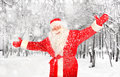 Santa claus in winter forest happy the Stock Photo