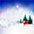 Santa claus on the winter landscape Royalty Free Stock Photos