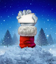Santa claus winter sign as a hand holding a blank card emerging out of a pile of avalanche snow in a cold pine forest scene as a Stock Images
