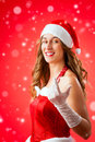 Santa claus woman wanting you to come over Stock Image