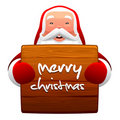 Santa Claus and wooden sign Stock Images