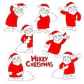 Santa Claus and the words Merry Christmas, doodle vector set