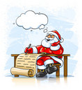 Santa Claus writing Christmas greeting letter Stock Images
