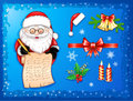 Santa-Claus writing on scroll with Christmas icons Royalty Free Stock Photography