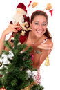 Santa Claus, young happy woman Royalty Free Stock Photo