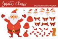 Santa Clause character constructor with spare bearded face, legs in boots, plump body, hands in mittens, long paper list