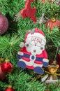 Santa Clause Christmas ornament tree, detail, close up Royalty Free Stock Photo