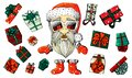 Santa Clause going to celebration Christmas. Characters set. vector illustration