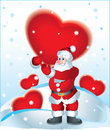 Santa Clause and Heart Stock Images