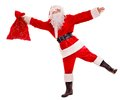 Santa Clause holding gift. Royalty Free Stock Photo